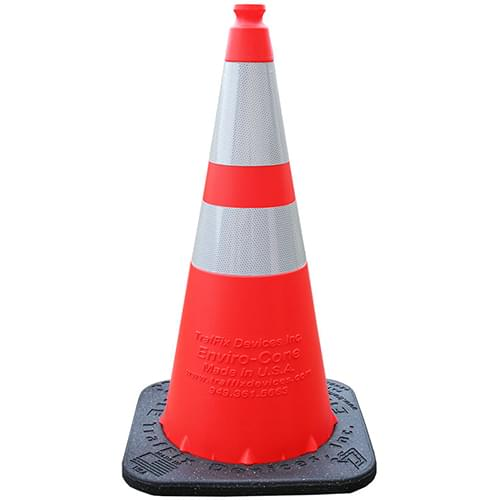 """#16028-HIWB-7 — 28"""" Orange Enviro-Cone with (1) 4"""" & (1) 6"""" High Intensity Prismatic Collars and 7lb. Recycled Rubber Base from TrafFix Devices, Inc."""
